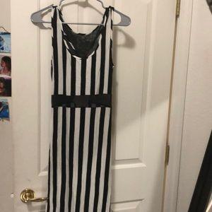 Mesh & Stipe Maxi Dress w/ side slit